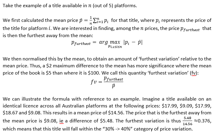 Shows the formulae and workings for calculating the price difference category, which rendered poorly in HTML. Please email us if you would like a copy in a more accessible format: rebecca.giblin@monash.edu.